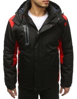 Fekete téli dzseki piros elemekkel ... 85ea9efaff