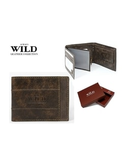 Raktáron Barna bőr pénztárca Always Wild ... ab3714d9b2