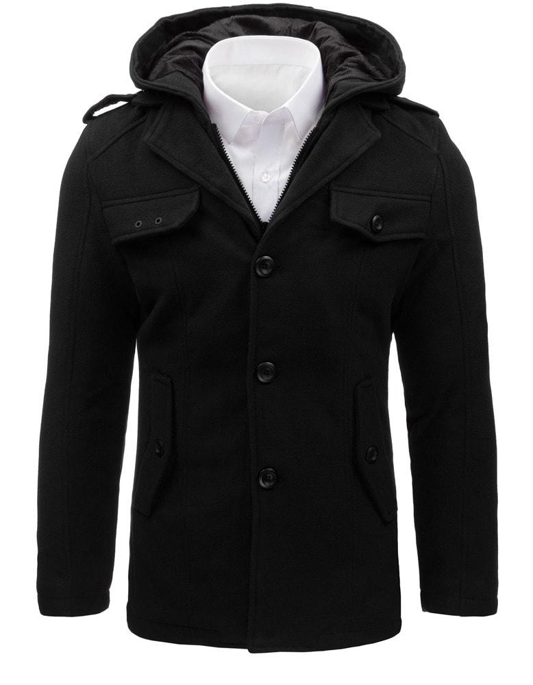 Kedvezmény Raktáron Elegáns fekete kabát lekapcsolható kapucnival ... a0640bca10