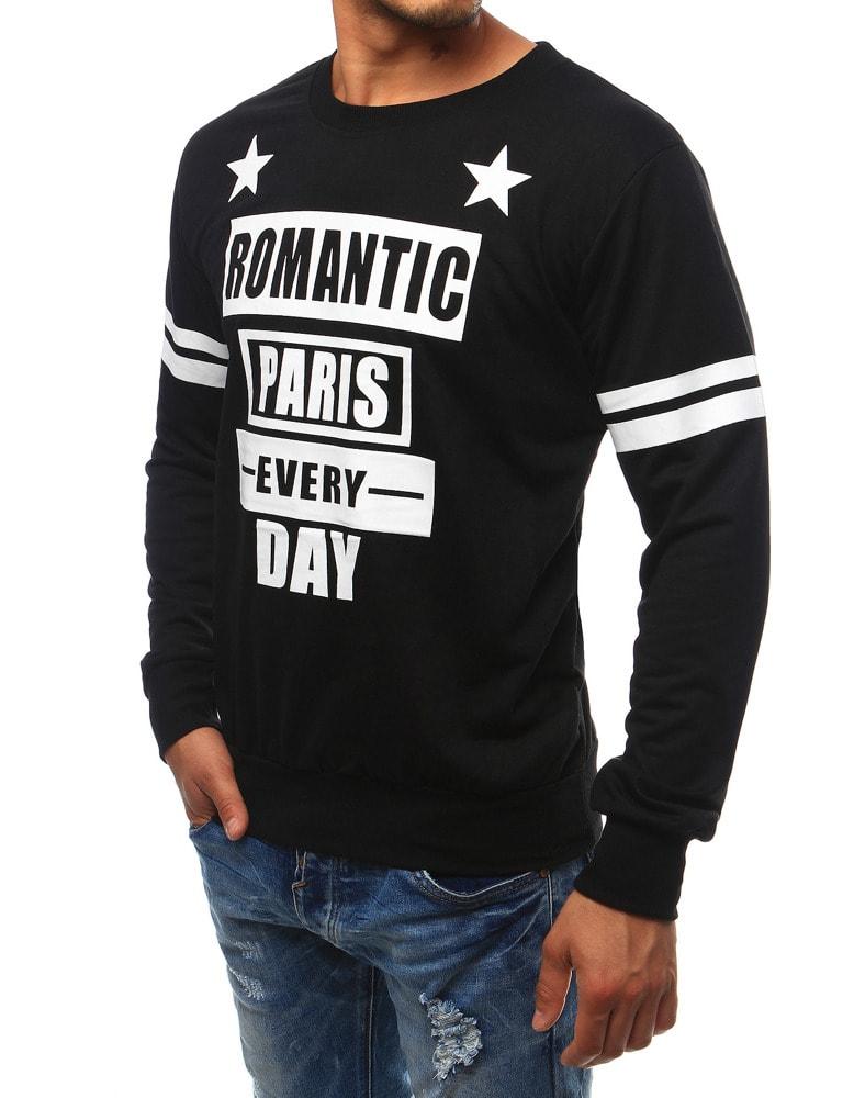 Fekete feliratos pulóver ROMANTIC PARIS - Legyferfi.hu 4d08ce5b63