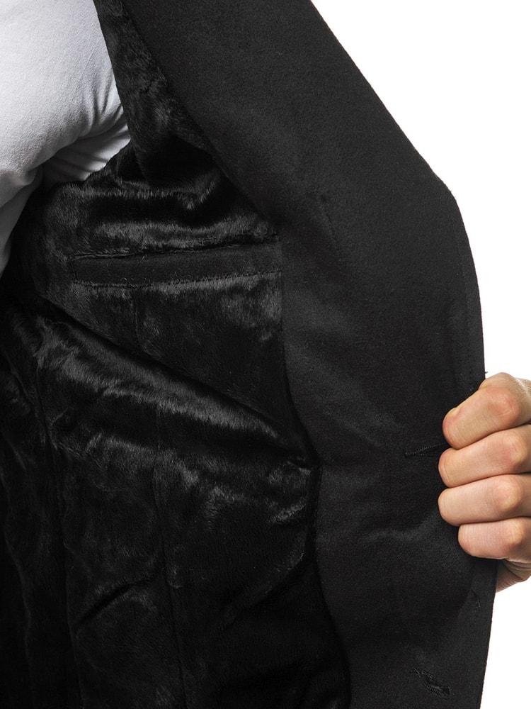 Fekete egysoros kabát OZONEE N 5438 - Legyferfi.hu 709efc91ca