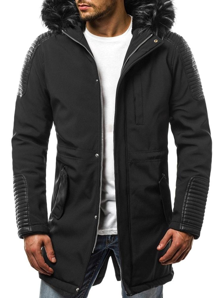 Előkelő fekete szőrmés parka kabát OZONEE N 5593 - Legyferfi.hu a79a0b33a6