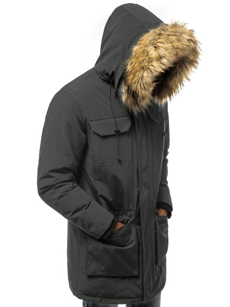 Grafit szürke téli parka kabát OZONEE JS 201807 - Legyferfi.hu f1c43d66bc