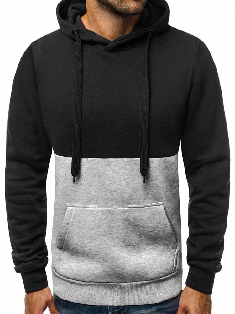 Fekete kapucnis pulóver OZONEE JS TR10 - Legyferfi.hu 866b81412d