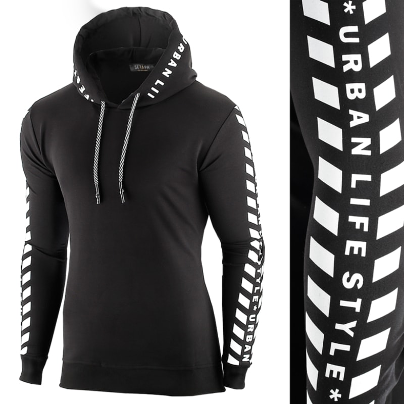 Fekete kapucnis pulóver SRPH - Legyferfi.hu 3bf393a477