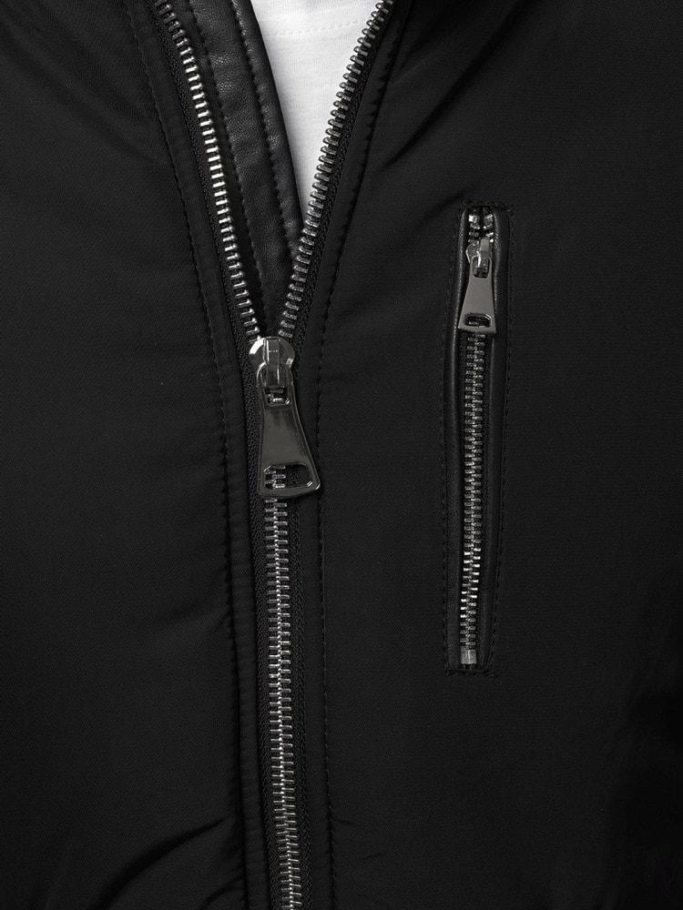 Divatos fekete szőrmés dzseki OZONEE O 88836 - Legyferfi.hu 1bfe97726d